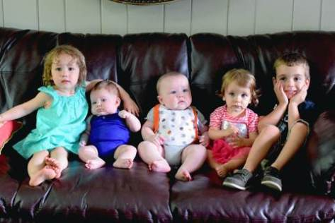 Ella Kate (2yrs), Elliott (3mo), Joseph (5mo), Abigail (1yr), Nathan (4yrs)