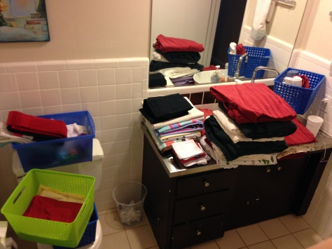 That's a lot of stuff crammed in there. And we aren't counting what's on beds and in the laundry. Time to purge!