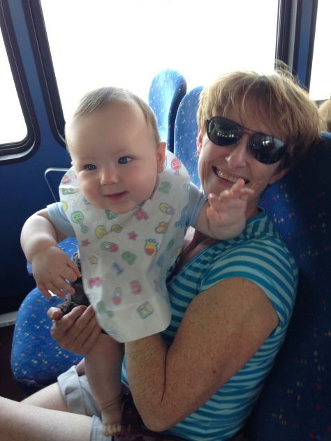 J and my mom hanging out on the boat!
