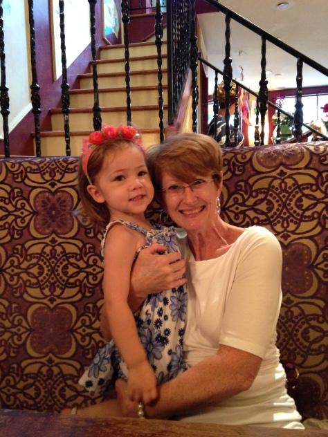Mom (Necie, to EK) snuggling Princess EK