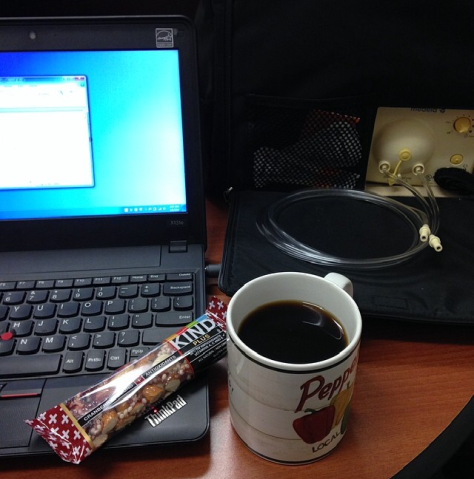 My view during my planning period every day after I came back from maternity leave: work laptop, breakfast, breast pump.