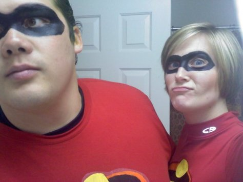 Not a great photo, but one of my favorite costumes ever. The first year we were married, Hubby and I were the Incredibles. Stay tuned to see it again in a year or two, plus the kids!