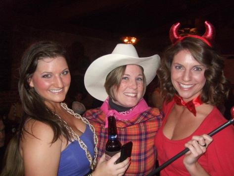 The year I was pregnant I was just growing out of my clothes, so I wanted something silly. Reverse Cowgirl it was! Kelly (on the right here, and on the right in the one above) and I always get pictures together!