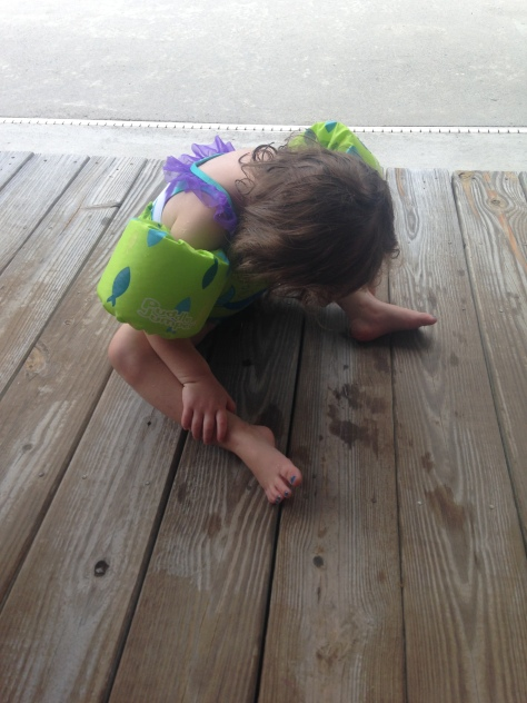 Why is my child crying? Because she wanted to get in the pool. And then she didn't anymore.