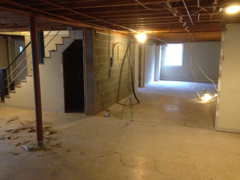 This one long room used to be Hubby's music studio (on the far side of the stairwell) and will now be two bedrooms!